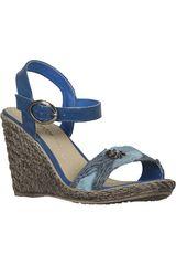 Sandalia Cuña de Mujer Platanitos Azul SPW E22606