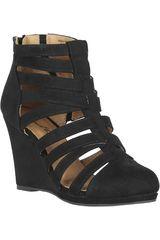 Just4u Negro de Mujer modelo CW WAKEN05-A Zapatos Casual Cuña