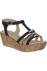 Sandalia Cuña de Mujer Platanitos Negro SPT 3303