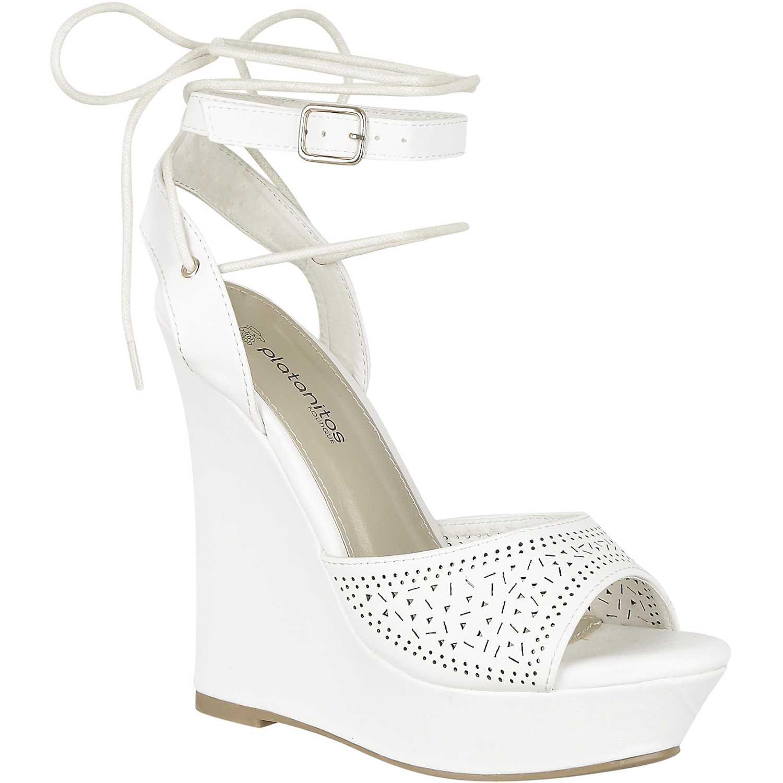 Sandalia Cuña de Mujer Platanitos Blanco spw letty48