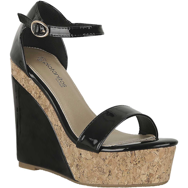 Sandalia Cuña de Mujer Platanitos Negro spw 584