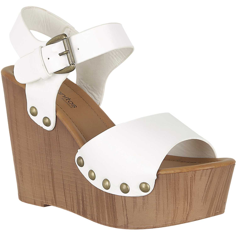Sandalia Cuña de Mujer Platanitos Blanco spw 5318