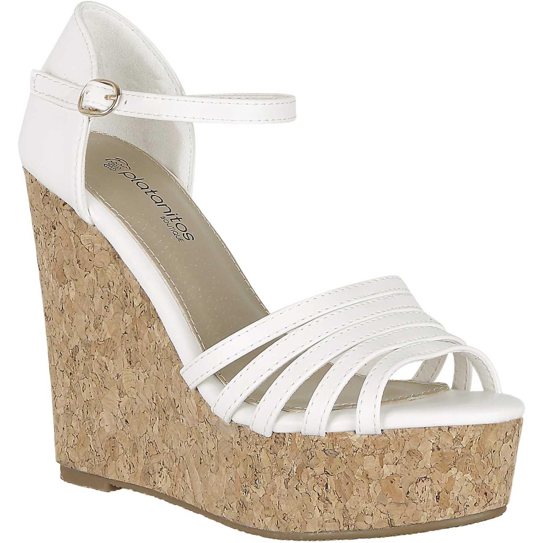 Sandalia Cuña de Mujer Platanitos Blanco spw 483