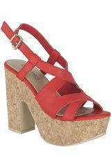 Platanitos Rojo de Mujer modelo SP 695 Plataformas Tacos Sandalias Casual