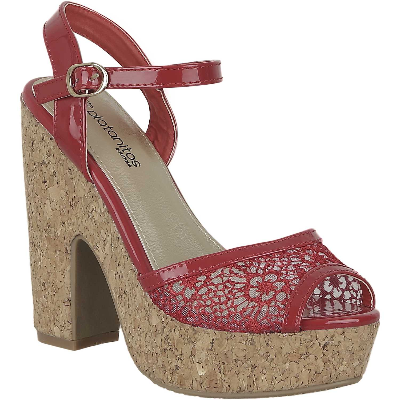 Sandalia Plataforma de Mujer Platanitos Rojo sp 884