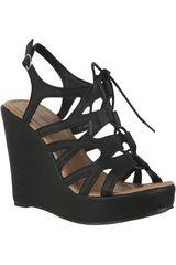 Platanitos Negro de Mujer modelo SPW 108 Casual Cuña Sandalias Calzado