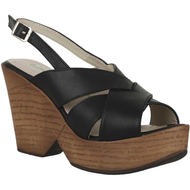 Sandalia Cuña de Mujer Limoni - Cuero Negro spw 621704