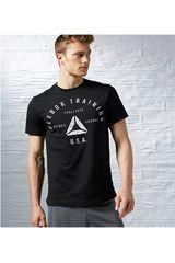 Reebok Negro de Hombre modelo STAMP TEE Deportivo Polos Running Training Hombre Ropa