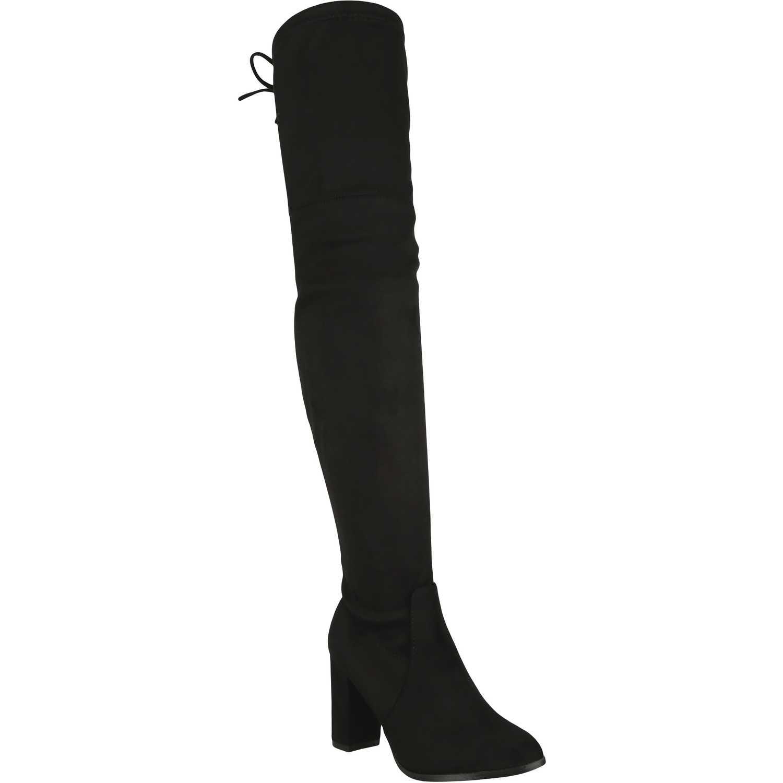 Bota Larga de Mujer  Platanitos b-c-1 Negro, Material: Gamuza-textil, Color: Negro, Taco: 9 cm, Forro: Textil, Planta: Sintético, Plantilla: Textil.