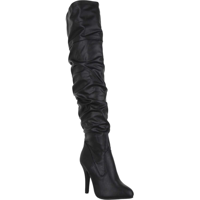 Bota Larga de Mujer  Platanitos bp-v-33 Negro, Material: Gamuza-textil, Color: Negro, Taco: 11 cm, Forro: Textil, Planta: Sintético, Plantilla: Sintético.