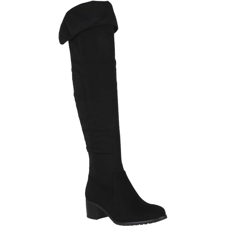 Bota Larga de Mujer  Platanitos b-3 Negro, Material: Gamuza-textil, Color: Negro, Taco: 5 cm, Forro: Textil, Planta: Sintético, Plantilla: Textil.
