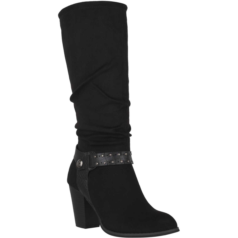 Bota Larga de Mujer  Platanitos b-v-25 Negro, Material: Gamuza-textil, Color: Negro, Taco: 8 cm, Forro: Textil, Planta: Sintético, Plantilla: Textil.