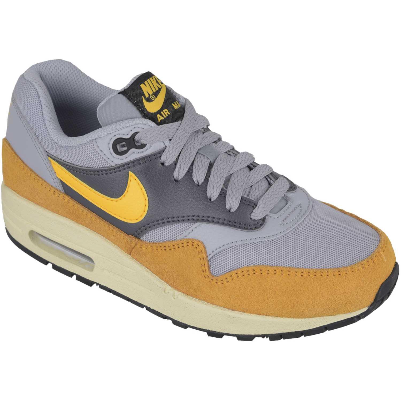 Zapatilla de Mujer  Nike wmns air max 1 essential Gris / Amarillo, Material: Sintetico-cuero, Color: Gris / Amarillo, Taco: 1 cm, Forro: Textil, Planta: Sintético, Plantilla: Textil.