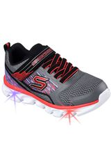Skechers Gris / Rojo de Niño modelo HYPNO-FLASH - TREMBLE 90581L - CON LUCES Walking Casual Deportivo Zapatillas Urban