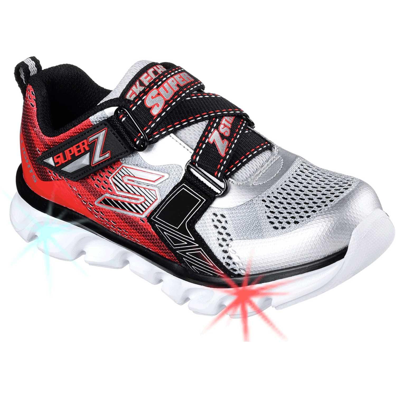 De Plateado Flash Skechers Con Zapatilla 90580l Niño Hypno Rojo cdxwtw