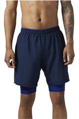 Reebok Azul de Hombre modelo RE 2-1 SHORT Deportivo Shorts Hombre Ropa