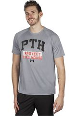 Polo de Hombre Under Armour Gris / Negro TECH PTH STENCIL SS T