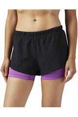 Reebok Negro / Morado de Mujer modelo 2-1 SHORT Deportivo Shorts