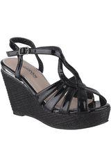 Platanitos Negro de Mujer modelo SPW-18R1 Casual Cuña Sandalias