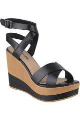 Platanitos Negro de Mujer modelo SPW-7R07 Casual Cuña Sandalias