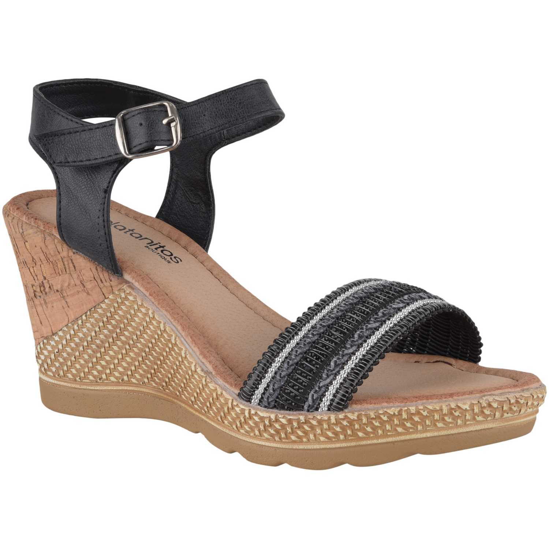 Sandalia Cuña de Mujer Platanitos Negro spw-2309