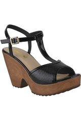Limoni - Cuero Negro de Mujer modelo SPW HANA01 Sandalias Plataformas Cuña