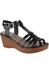 Limoni - Cuero Negro de Mujer modelo SPW LEO01 Plataformas Cuña Sandalias