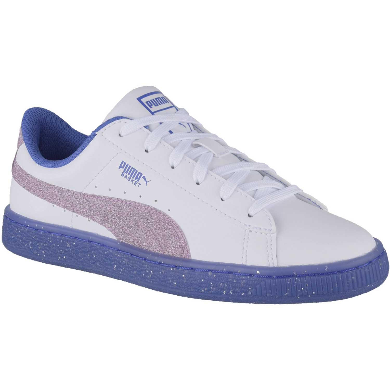 40e52135 Zapatilla de Jovencita Puma Blanco / azul basket iced glitter 2 jr ...
