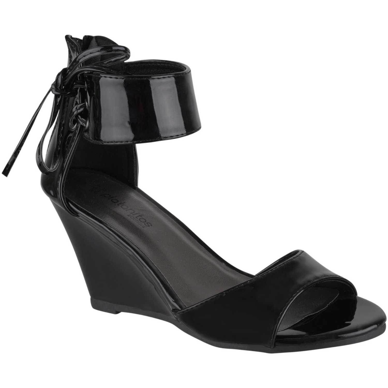 Sandalia Cuña de Mujer Platanitos Negro sw-6204