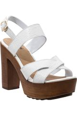 Limoni - Cuero Blanco de Mujer modelo SP DIANA 01 Cuña Casual Sandalias