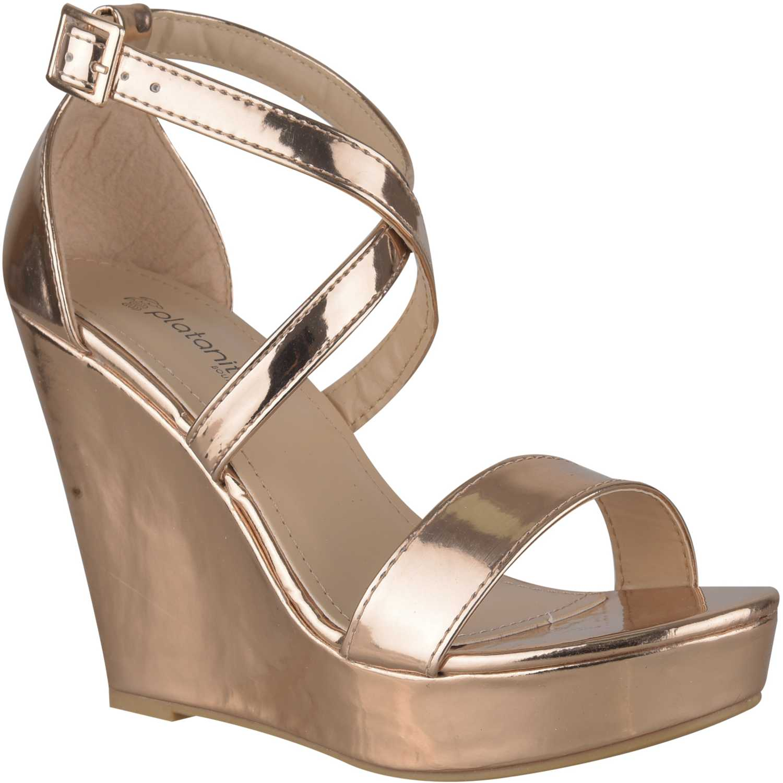 Sandalia Cuña de Mujer Platanitos Rose gold spw-bunty3a