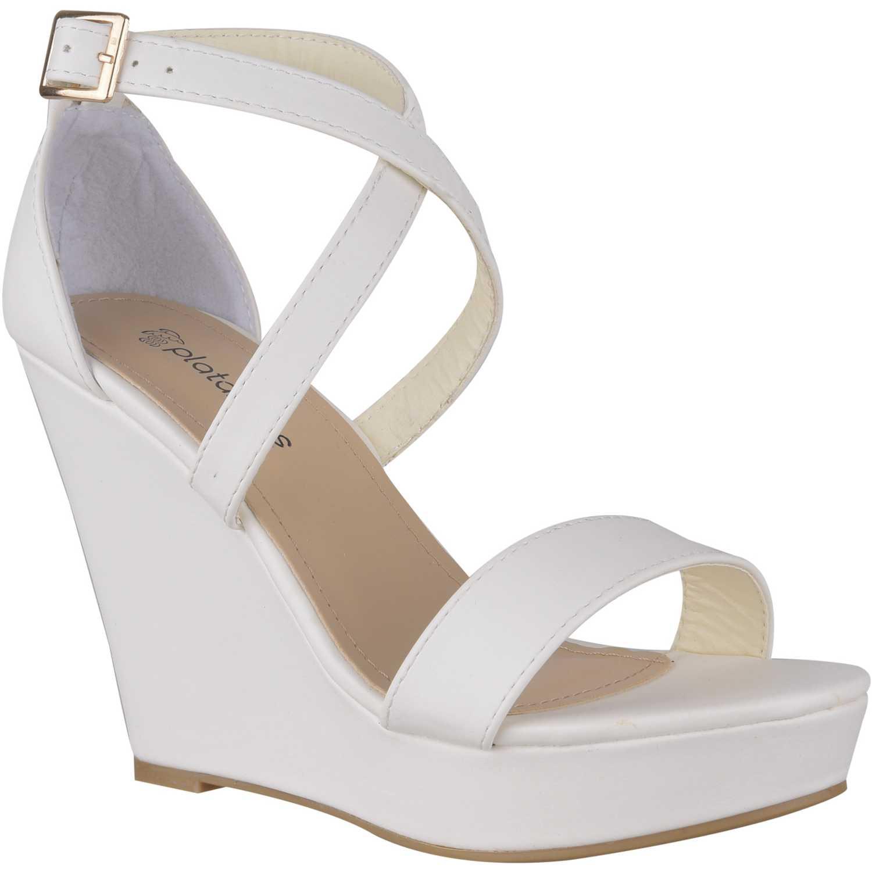 Sandalia Cuña de Mujer Platanitos Blanco spw-bunty3a