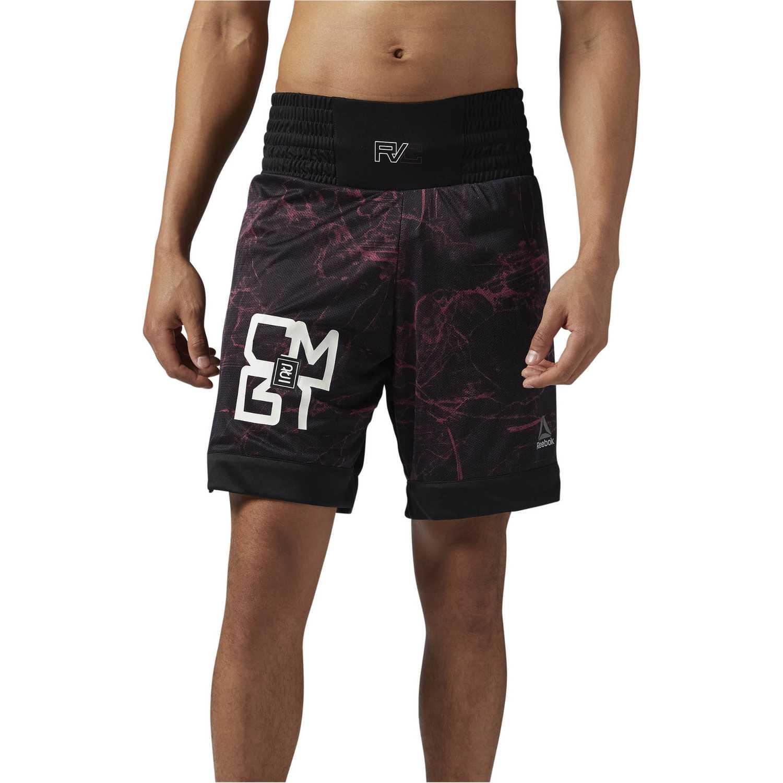 Short de Hombre Reebok Negro / morado combat prime boxing short
