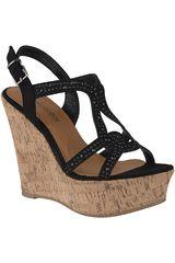 Platanitos Negro de Mujer modelo SPW-5341 Sandalias Cuña Plataformas