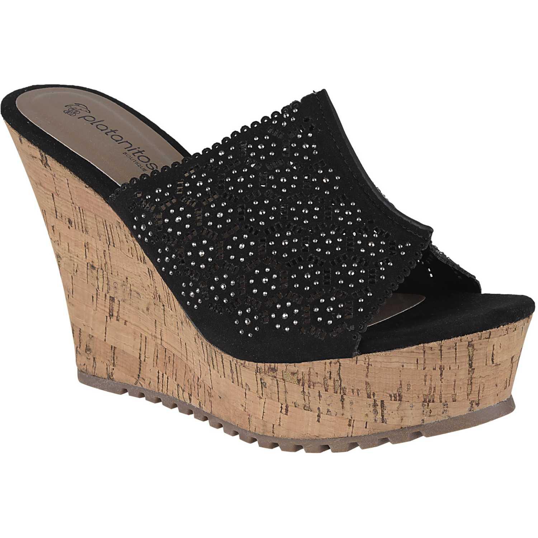 Sandalia de Mujer Platanitos Negro spw-8a56