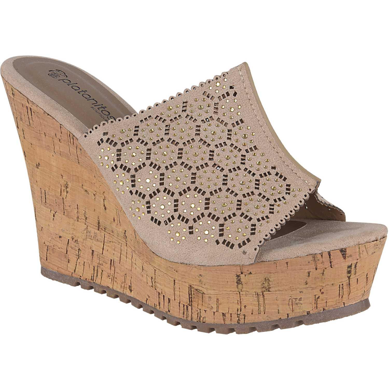 Sandalia Cuña de Mujer Platanitos Beige spw-8a56