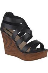 Limoni - Cuero Negro de Mujer modelo SPW SELENA01 Sandalias Plataformas Cuña