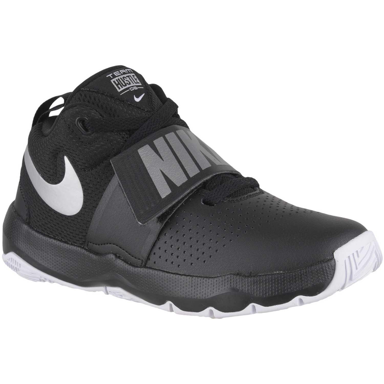 Zapatilla de Jovencito Nike Negro  gris team hustle d 8 bg ... 019673686207b