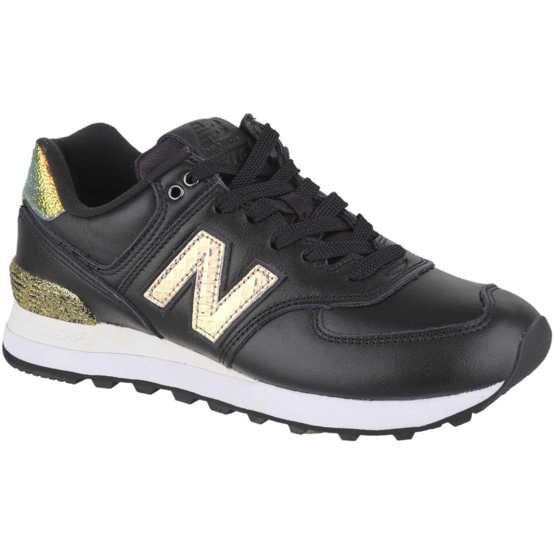 Zapatilla de Mujer New Balance Negro / dorado 574