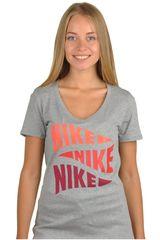 Nike Gris Oscuro de Mujer modelo NK TEE-V VARSITY PENNANT Deportivo Polos