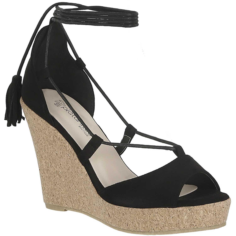 Sandalia Cuña de Mujer Platanitos Negro spw 2109