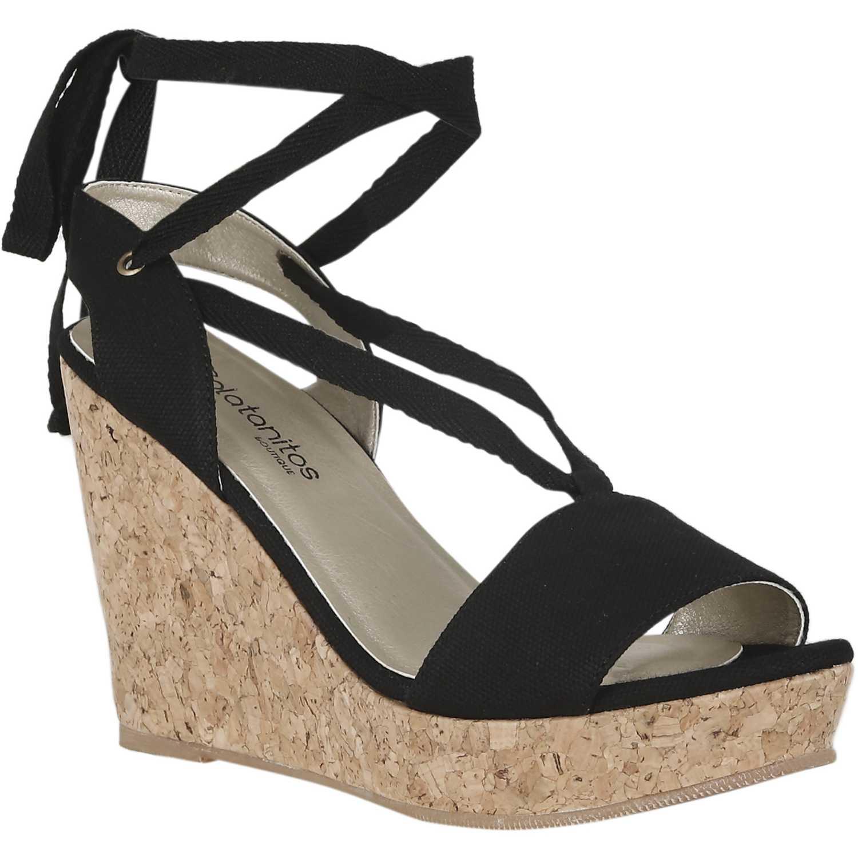 Sandalia de Mujer Platanitos Negro spw 1021705