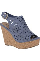 Sandalia Cuña de Mujer Platanitos Azul SPW-1093