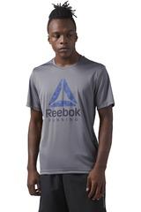 Reebok Gris / Azulino de Hombre modelo RUN GRAPHIC TEE Deportivo Polos