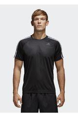 adidas Negro de Hombre modelo D2M Tee 3S Polos Deportivo