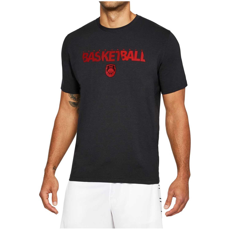 Polo de Hombre Under Armour Azul / Rojo basketball wordmark ss