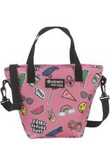 Lonchera de Mujer Xtrem lunch bag pink patches tote 847 Rosado