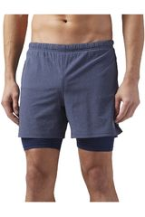 Reebok Azul / blanco de Hombre modelo 2-1  SHORT Shorts Deportivo