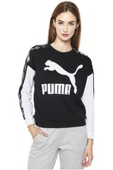 Polera de Mujer Puma Negro / Blanco Classics Logo T7 Crew AOP