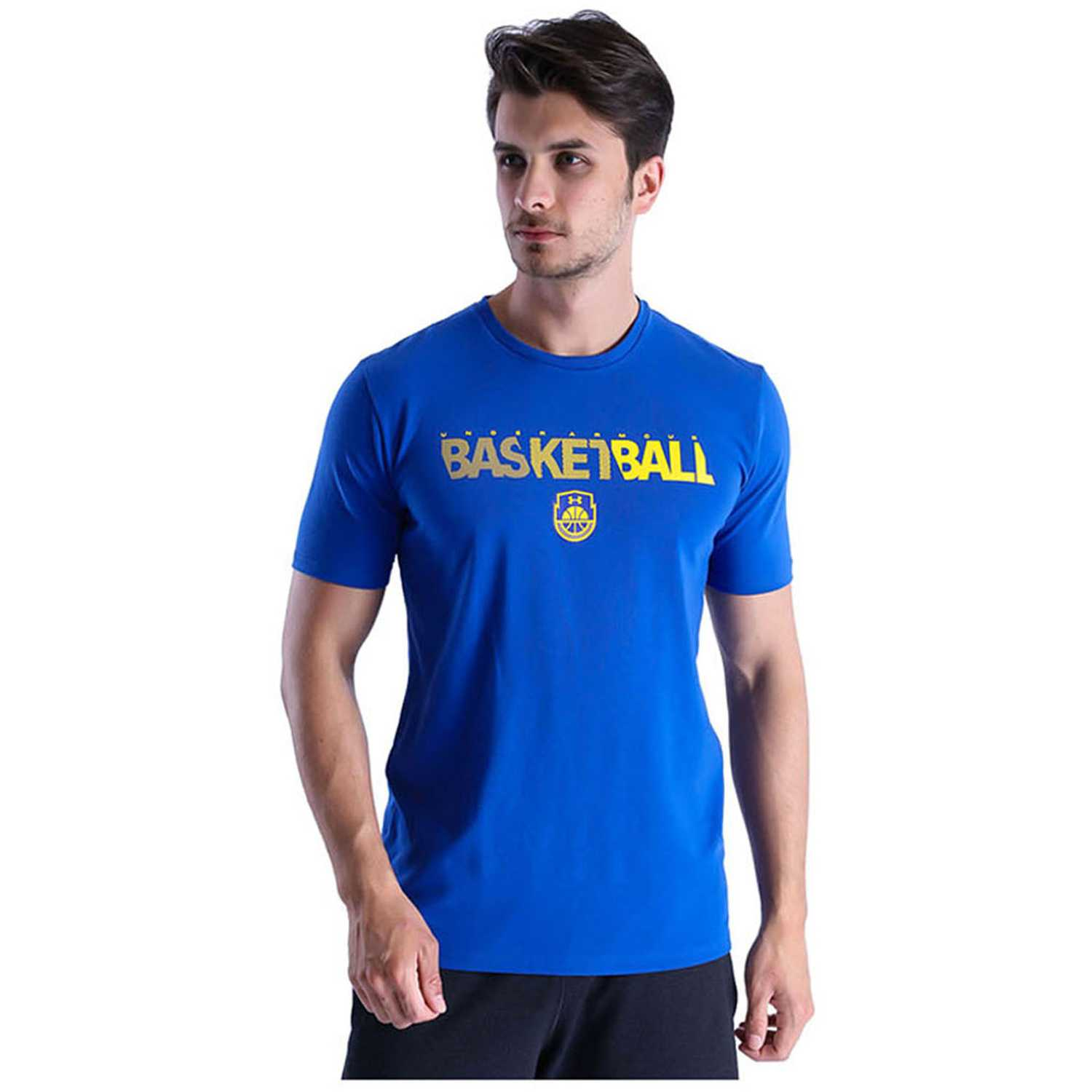 288e786fb8a2e Polo de Hombre Under Armour Azulino basketball wordmark ss ...